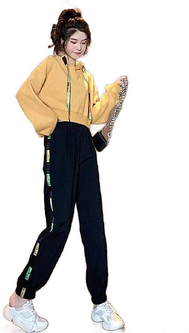 スペシャリスト脅威プラス女性ロングスリーブカジュアル2pcsスウェットシャツクロップドトラックスーツジョグセット Yellow X-Small