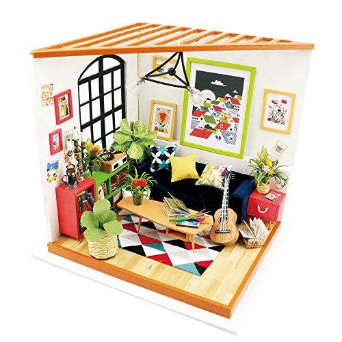 Robotime Dollhouse Kit Rénovation de meubles Woodcraft Kit de Construction Mini Maison de Bricolage à la Main Avec Lumières et Accessoires Miniature Home Decor Décor de Noël (Sitting Room)