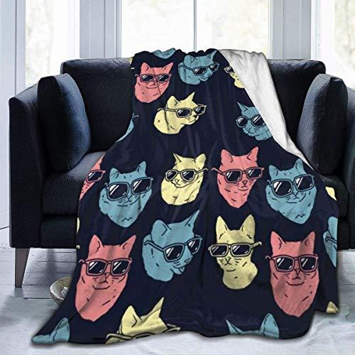 Manta de lana de franela para yoga, colorido gato con gafas de sol, manta para otoño y oficina, muy suave y cómoda, fácil de cuidar, 156 x 150 cm