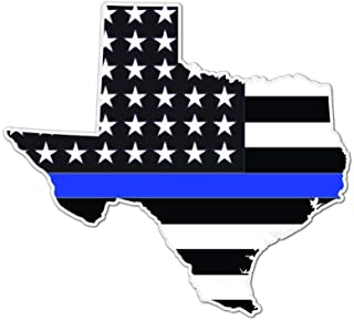 State of Texas Shaped Thin Blue Line Police Officer 5 Inch - Indoor Outdoor Vinyl Decal