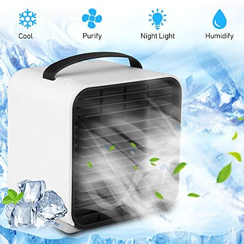 Mini Luftkühler - 3 Geschwindigkeiten, Air Cooler Tragbar, Mobiles Klimagerät USB Klimaanlage Mobil Persönliche Air Cooler Mit Wasserkühlung, USB Klima Ventilator für Home, Office, Auto usw