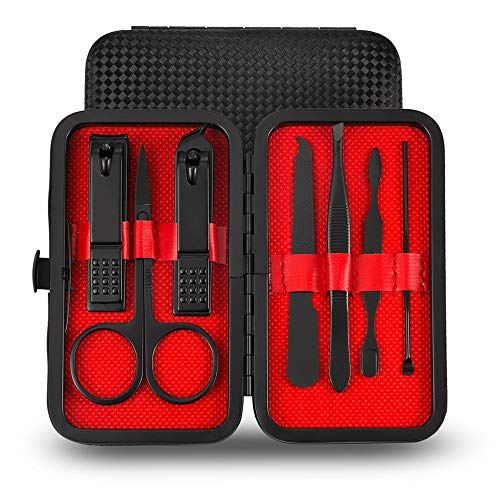 Set per manicure e pedicure, set da viaggio per manicure e pedicure, kit di cura in pelle, da viaggio (7 pezzi)
