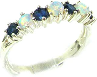 925 Sterling Silver Real Genuine Opal & Sapphire Womans Eternity Ring