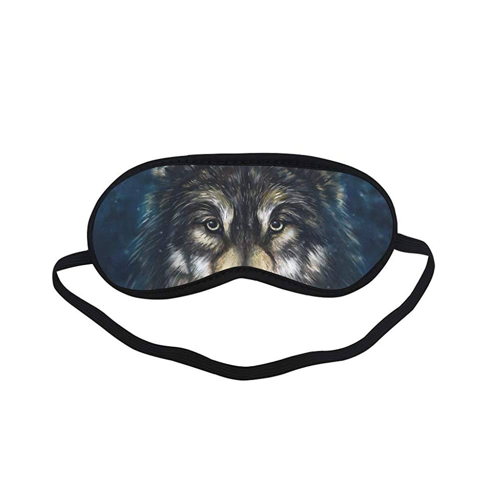 All Polyester Animal Wolf Ferocious Natural Forest Snow Landscape Oil Painting Sleeping Eye Masks&Blindfold by Simple Health with Elastic Strap&Headband for Adult Girls Kids and for Home Travel