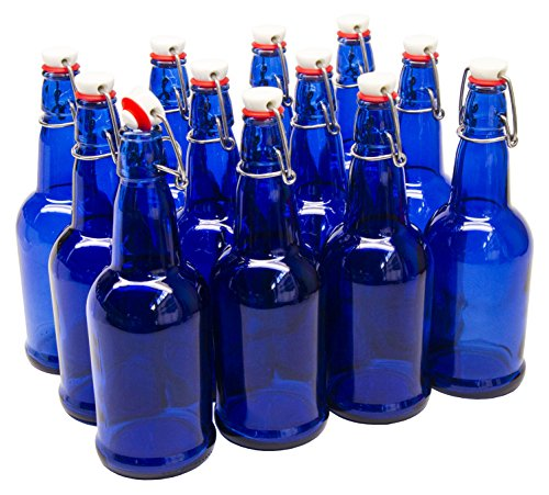 North Mountain Supply Cobalt Blue Coated Glass Grolsch-Style Beer Brewing Fermenting Bottles - with Ceramic Swing Top Caps - Case of 12