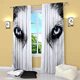 Factory4me Wolf Curtains Black and White curtains Window Panels Curtain W84 x L84 inches Drapes for Living Room Bedroom Kitchen