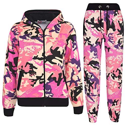 A2Z 4 Kids® Kinder Mädchen Jungen Einfache Trainingsanzug Kapuzenpullover - Plain Tracksuit Camo Baby Pink 11-12