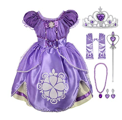 Lito Angels Girls' Princess Dress Up Costume Purple Fancy Party Dress Outfit with Accessories Size 5