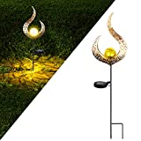 ASRIO Solar Outdoor Lights, Crackle Glass Ball with Warm LED Light and Waterproof, Garden Decor for Yard, Lawn, Patio, Porch and Pathway