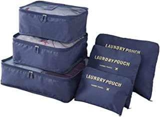 Travel Luggage Packing Cubes Storage Organizer 6 Set Space Saver Candy Color Bags (Navy)
