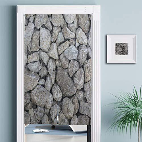 JISMUCI Vorhänge für Türen,Graue Natursteinwand,Türvorhang Für die Küche Wohnzimmer Schlafzimmer