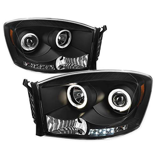 For Dodge Ram Pickup Truck Black Bezel Dual Halo Ring LED Projector Headlights Left + Right Replacement