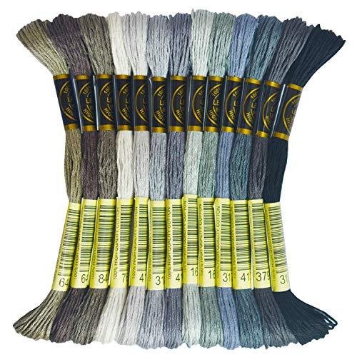 Premium Rainbow Color Embroidery Floss - Cross Stitch Threads - Friendship Bracelets Floss - Crafts Floss - 13 Skeins Per Pack Embroidery Floss, Beaver Gray Gradient