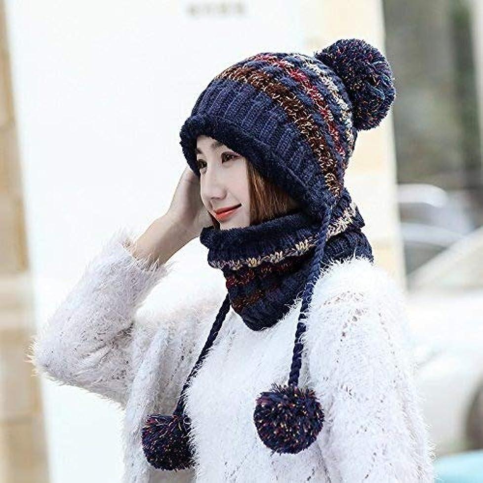 ひらめきリーク解体するZHWEI ボールキャップ屋外防風コールドキャップをぶら下げ帽子秋と冬の暖かいニット帽子レディースカラーマッチング 柔らかく暖かい (Color : Navy)