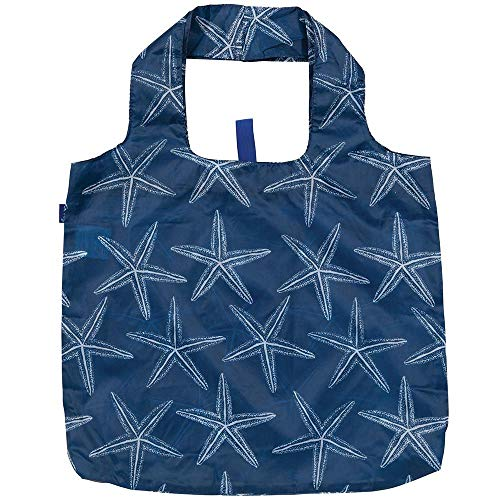 Reusable Grocery Bags for Shopping - Starfish Navy Pattern Blu Bag - Machine Washable, Foldable, Packable Tote - Large Handles - Heavy Duty and Lightweight - Zippered Top Pouch - Rockflowerpaper
