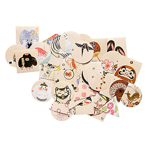 CAOLATOR 40 Blatt Japanischer Stil Aufkleber Deko Sticker Vintage Hartes Papier Sticker Mädchen Tagebuchsticker Foto Album Dekoration