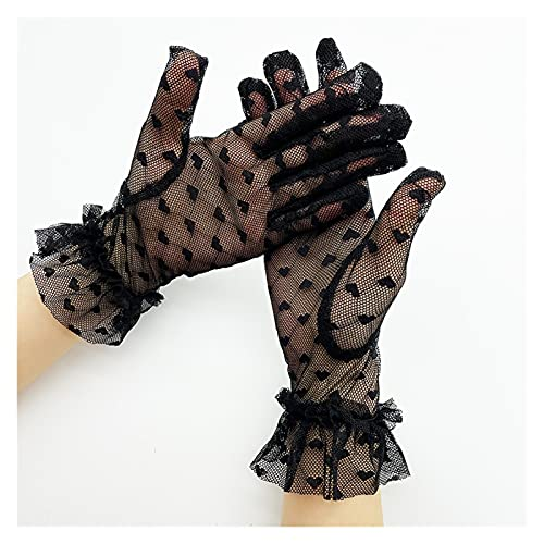 YUMYANJIN Bridal Gloves Autumn Summer Women Gloves Stretchy Lace Short Tulle Full Finger Mittens Lotus Leaf Sheers Elegant Lady Driving Gloves Decorate (Color : Black)