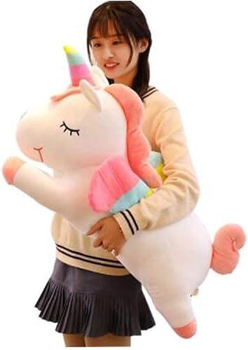 XIONGHAIZI Peluche poupée, poupée Licorne, poupée, Cadeau d'anniversaire Oreiller Fille, Blanc, Rose ( Couleur   blanc , Taille   60cm )