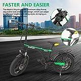 Yuxinkang Moto Eléctrica, Motocicleta Plegable Portátil, Bicicleta De Montaña Eléctrica con Batería De Iones De Litio De Gran Capacidad (36V 250W), Bicicleta De Nieve con Asiento Trasero De Bicicleta