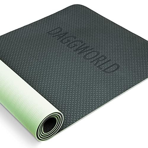 Tappetino Fitness Palestra da Ginnastica Yoga Mat Professionale Pilates Grande Spesso Antiscivolo in TPE, di Alta qualità Imbottito e Impermeabile con Cinturino e Manuale per Esercizi Workout