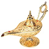 Qioni Vintage Legend Aladdin Lamp Magic Genie Wishing Light, Collectable Metal Carved Classic Arabian Costume Props Lamp Tea Oil Pot Art Craft Decoration&Gift for Party/Halloween/Birthday