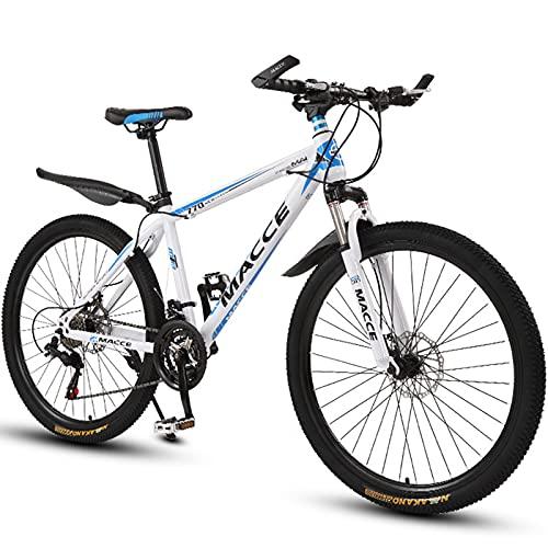 PBTRM Bikes Bicicleta Montaña 26 Pulgadas, Horquilla Suspensión, Freno Disco Doble, Bicicleta Antideslizante, MTB Urbana para Adultos O Adolescentes para Uso En Exteriores,Blanco,24 Speed