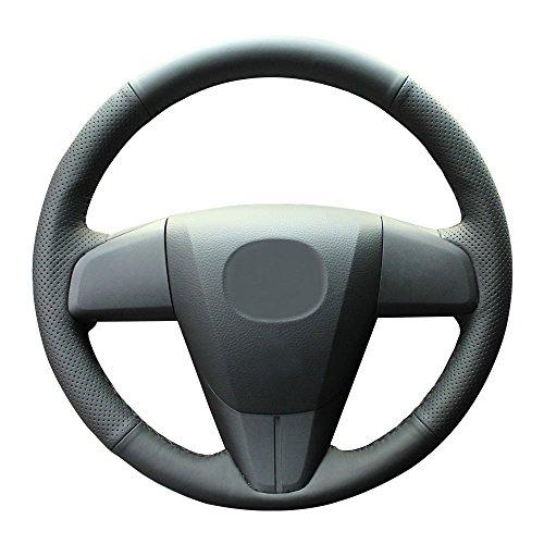 Eiseng Car Steering Wheel Cover for 2010 2011 2012 2013 Mazda 3 / 2012 2013 Mazda 6 / 2012-2015 Mazda 5 / 2010-2015 Mazda CX-9 Interior Accessories DIY 15 Inches Black Genuine Leather (Black Thread)