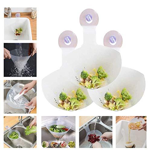QIMMU Faltbarer Filter Spülbecken Filter Simple Sink Faltbarer Filter,freistehende Waschbecken Stopper, Antiblockierfilter,Küchenspüle Sieb für Küche Bad 3 Stücke