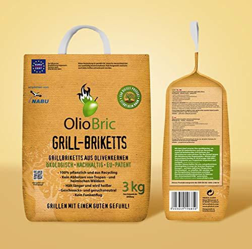 OlioBric 3kg Gourmet-Grill-Briketts | Oliventrester Grillkohle | nachhaltig | kein Rauch