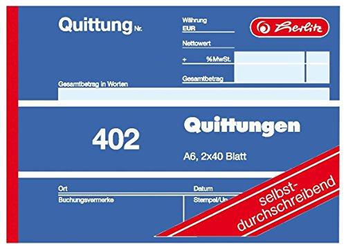 Herlitz 7876147 Quittungsblock A6 402 2x40 Blatt, selbstdurchschreibend (5er Pack)