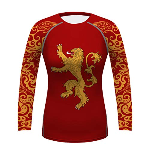 Women Workout Gym Tee Lion Printing Gi, No Gi Yoga BJJ Rash Guards Tops Summer Dry Fit Compression Fitness Shirt
