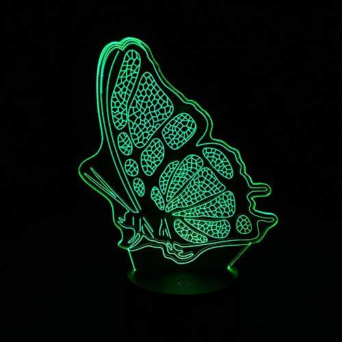 Mooi acrylpaneel, vlindervleugels, nachtlampje, LED, met touch-schakelaar, 7 sfeerlicht, meerkleurig