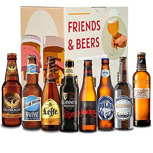 Pack de cervezas degustación - Caja INTERNACIONAL: Grimbergen, Blue Moon, A.K Damm, Santa Monica, Judas, Polar, Leffe y Guinness I La mejor selección de cervezas para regalar y disfrutar.