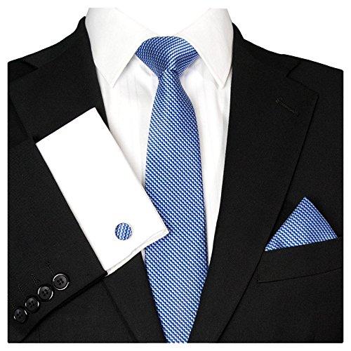 GASSANI Herrenkrawatte Krawattenset Royal-Blaue Karo-Muster, Schmale Skinny Slim Hochzeitskrawatte Herrenschlips Einstecktuch Manschettenknöpfe