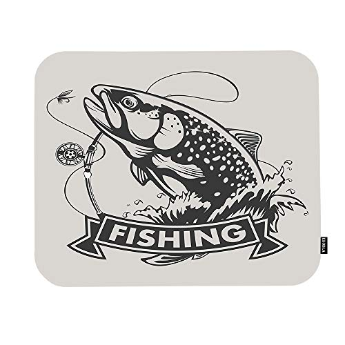 EKOBLA Fishing Mouse Pad Bass Fish Rainbow Trout Hunting Catch Vintage Animal Art Sea Marine Gaming Mouse Mat Non-Slip Rubber Base Thick Mousepad for Laptop Computer PC 9.5x7.9 Inch