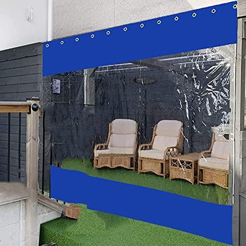 Lona alquitranada Panel Lateralde Carpa Interior/Exterior, Cortina de Partición Transparente, Cortina para Exteriores para Intemperie con Ojales a Prueba de Óxido, para Pérgola, Porche, Cenadores