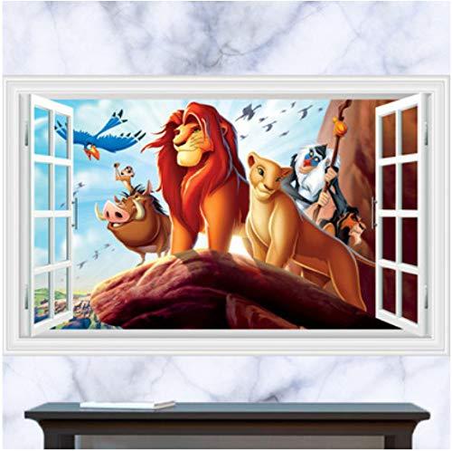 floolter Roi Lion 3D en Trois Dimensions fenêtre Dessin animé Chambre Enfants Papier Peint Stickers muraux 60 * 90 cm