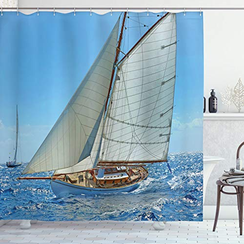 """Ambesonne Nautical Shower Curtain, Sailboat on The Sea Regatta Race Yacht and Windy Weather Competition Theme, Cloth Fabric Bathroom Decor Set with Hooks, 84"""" Long Extra, White Brown"""