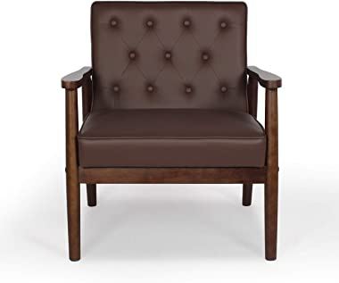 Mid-Century Retro Modern Solid Wood Armrest Accent Chair, Faux Leather Tufted Back Upholstered Lounge Chairs, Living Room Furniture (Brown 8325)