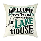 Cotton Linen Throw Pillow Case Best Gift for Camping Farmhouse Holiday Pillow Covers Decor Housewarming Gift for New Homeowner Gift from Real Estate Agent Pillowcase Couch Cushion Cover 18'' x 18''