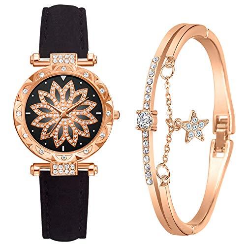 Damen Armbanduhr mit Armreif Armbänder Zweiteiliger Anzug Quartz Uhr Mode Damen Uhren Geschäftsquarzuhr Business Quarzuhr Armband Damenaccessoires Geschenk für Frauen (C-Schwarz)