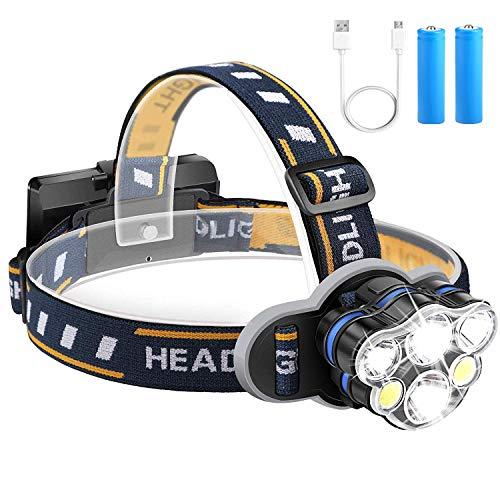 Lámpara de cabeza, Qooner 12000 lumen ultra brillante 6 lámparas LED faro con baterías recargables USB, Lámpara de cabeza impermeable de 8 modos para ciclismo, camping, pesca, senderismo, trotar