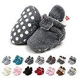 EDOTON Botas de Niño Calcetín Invierno Soft Sole Crib Raya de Caliente Boots de Algodón para Bebés (6-12 Meses, Gris Marino, Tamaño de Etiqueta 12)