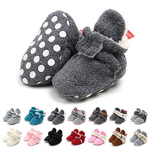 EDOTON Botas de Niño Calcetín Invierno Soft Sole Crib Raya de Caliente Boots de Algodón para Bebés (0-6 Meses, Gris Marino, Tamaño de Etiqueta 11)