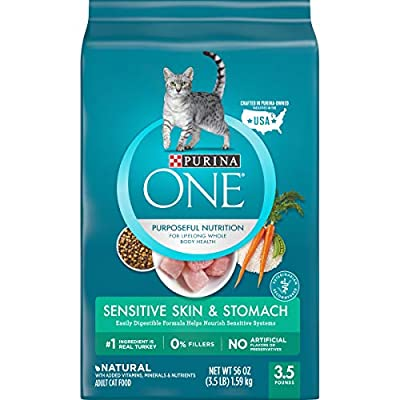 Purina ONE Sensitive Stomach, Sensitive Skin, Natural Dry Cat Food, Sensitive Skin & Stomach Formula - 3.5 lb. Bag