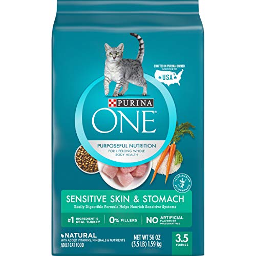 Purina ONE Sensitive Stomach, Sensitive Skin, Natural Dry Cat Food, Sensitive Skin & Stomach Formula - 3.5 lb. Bag