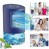 【4-in-1-Design】 Tragbarer Lüfter, Luftbefeuchter, Luftreiniger und 7 LED-Leuchten, Wenn wir den kühlen Wind genießen, können wir die Befeuchtungsfunktion aktivieren, um trockene Luft zu vermeiden, unsere Haut mit Feuchtigkeit zu versorgen und zu schü...