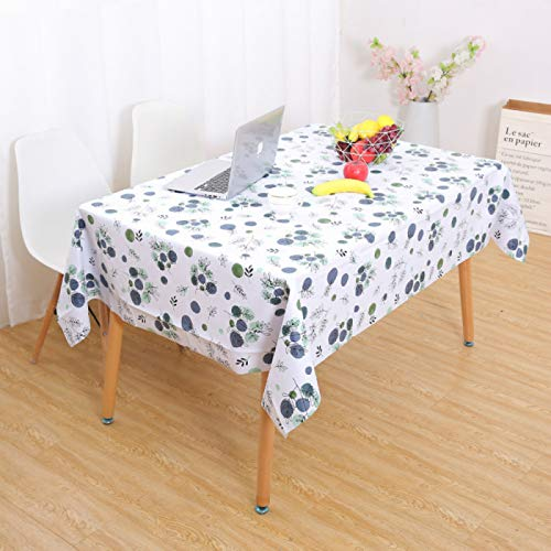 YOUYUANF Tablecloth rectangular linen disposable Tablecloth, rectangular tablecloth washable table cover for kitchen diningBlue dot137x90cm