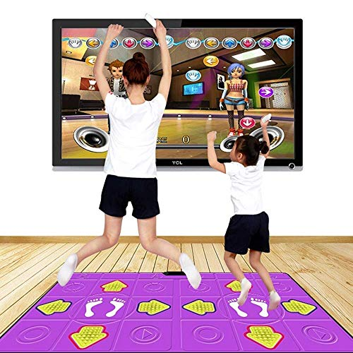 GH-YS Tanzmatten Doppel Komfortabel Doppelgriff 3D-Szene LED beleuchtete Tastatur, Familienspaß Arcade-Stil Tanzspiele 113