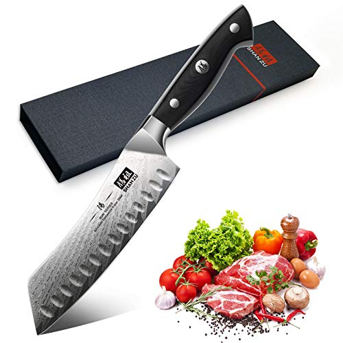 SHAN ZU Couteau Santoku Japonais 18cm, Couteau de Cuisine Damas en Acier (AUS-10) Japonais , Poignée Ergonomique G10 Couteau Japonais pour Coupe Viande, Légumes, Fruits- SUN Series